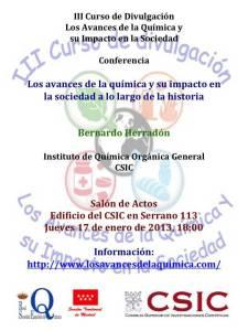 Próxima conferencia III Curso de Divulgación de la química.