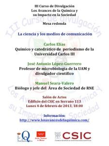 """Cartel anunciador de la Mesa redonda """"La ciencia en los medios de Comunicación"""""""