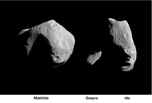 Los asteroides Mathilde, Gaspra e Ida. Credit: NASA