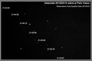 Paso cercano del asteroide 2012DA14 el 15 de febrero de 2013. Telescopio principal CDK de 20'' y cámara SBIG STL-11000M