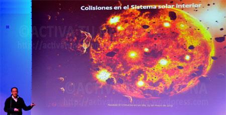 Ricardo Hueso explicando la formación de los sistemas planetarios. Credit: ACTIVATUNEURONA