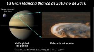 La Gran Mancha Blanca de Saturno Observada por la nave Cassini en órbita alrededor de Saturno el 26 de febrero de 2011 y comparada en tamaño con la Tierra.