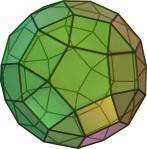 El rombicosidodecaedro está compuesto por doce pentágonos regulares, treinta cuadrados y veinte triángulos equiláteros