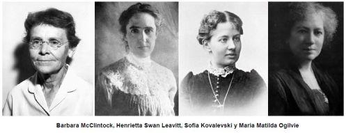 0_Barbara McClintock, Hernietta Swan Leavitt, Sofia Kovalevski Y Maria Matilda Ogilvie