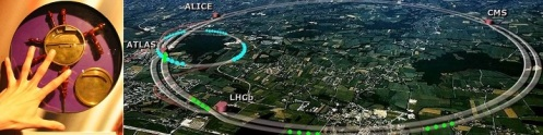 El primer acelerador de partículas. El Laurence cyclotron se construyó hacía 1930. Medía apenas 10 centímetros. A su lado, el LHC posee un tunel de 27 kilómetros. Credits: Peter Blow, Source:www.physicsinfo.co.uk & www.greatdreams.com/