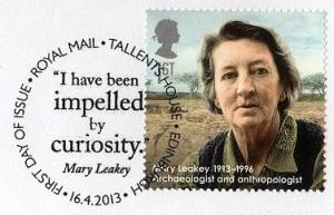 Sello conmemorativo del servicio de correos británico a Mary Leakey. Credit: http://stampraider.blogspot.com.es