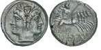 Anverso y reverso de una moneda romana del S. II antes de Cristo. A la izquierda Cabeza laureada de Jano imberbe.