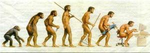 Representación humorística de la Evolución Humana.