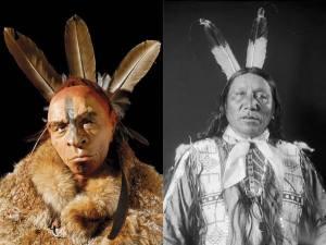 """A la izquierda, reconstrucción de un Neandertal adornado con plumas, por Fabio Fogliazza. A su lado, """"Eagle-Horse"""" de la tribu Sicangu en 1909. Foto: http://www.firstpeople.us/FP-Html-Pictures/American-Indians-00.html"""