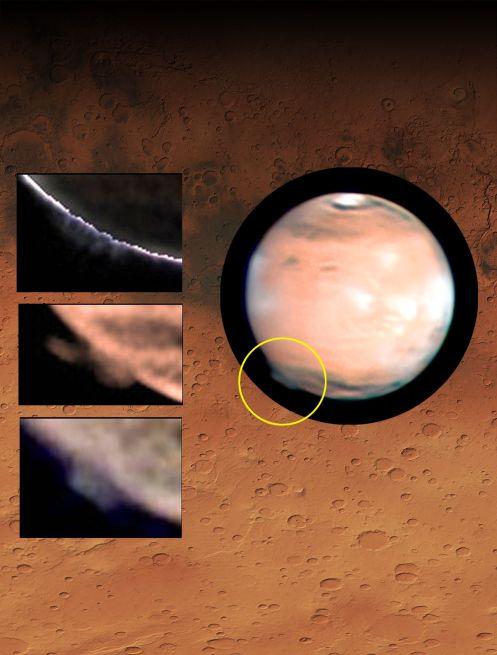 Marte con el penacho emergiendo en el limbo (dentro del círculo amarillo). A la derecha, vistas aumentadas de la cambiante morfología del penacho, en imágenes tomadas por W. Jaeschke y D. Parker el 21 de marzo de 2012. Como fondo, una zona de Terra Cimmeria en Marte (longitud 207° y latitud -32°), donde se formó el penacho (fuente de la imagen: National Oceanic and Atmospheric Administration (NOAA)).