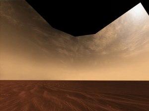 Nubes y arena en el horizonte de Marte: Foto: Mars Exploration Rover Mission, Cornell, JPL, NASA.