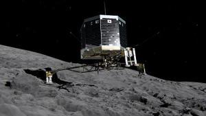 Philae sobre la superficie del 67/P. Recreación de la Agencia Espacial Europea (ESA).