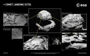 Foto: CIVA: ESA/Rosetta/Philae/CIVA; NAVCAM: ESA/Rosetta/NAVCAM – CC BY-SA IGO 3.0; OSIRIS: ESA/Rosetta/MPS for OSIRIS Team MPS/UPD/LAM/IAA/SSO/INTA/UPM/DASP/IDA; ROLIS: ESA/Rosetta/Philae/ROLIS/DLR